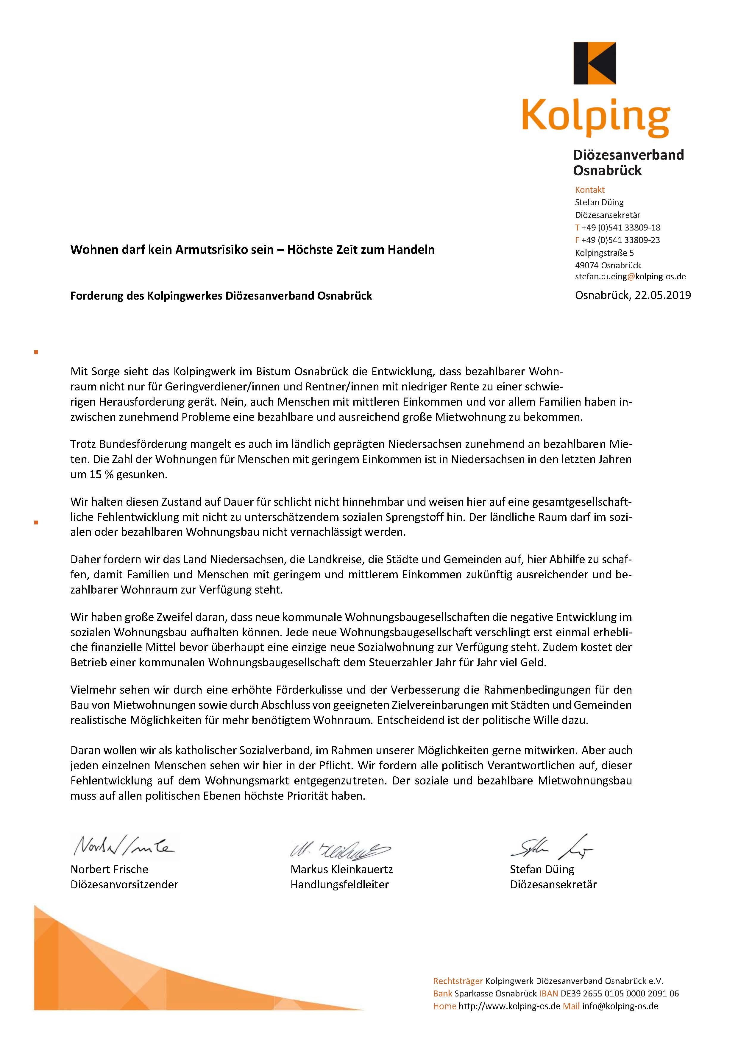 """Stellungnahme """"Wohnen"""" des Kolpingwerkes Diözesanverband Osnabrück"""