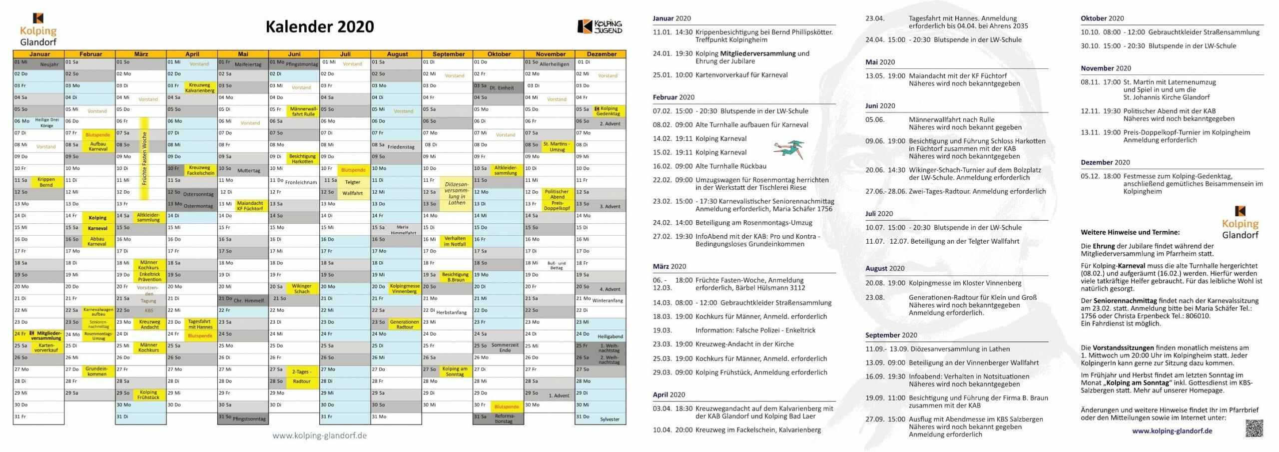 Kalender 2020 Übersicht